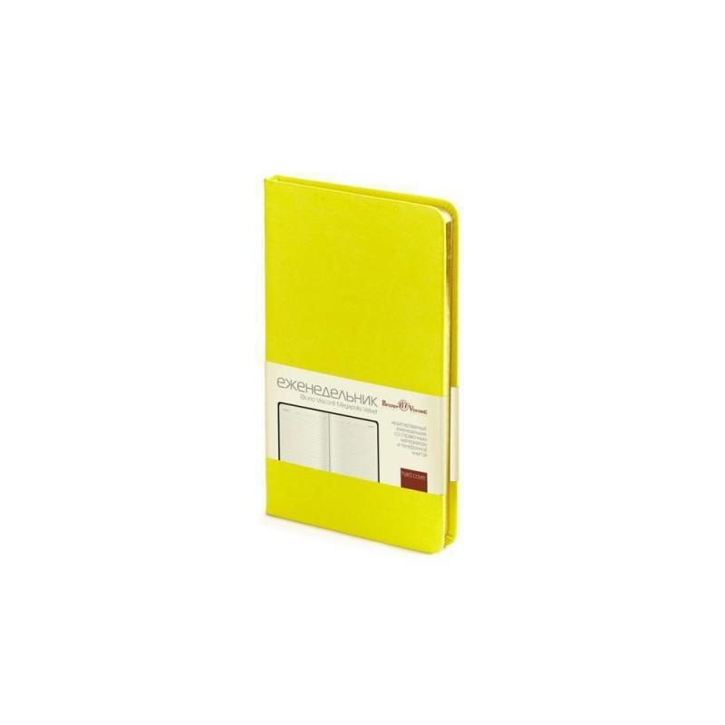 Еженедельник А6 недатированный «Megapolis Velvet» желтый